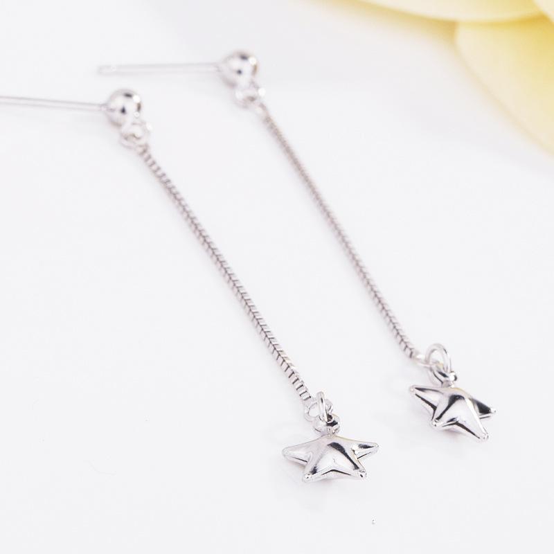 新款925银耳线 中长款流苏耳线创意五角星电镀耳环女直销
