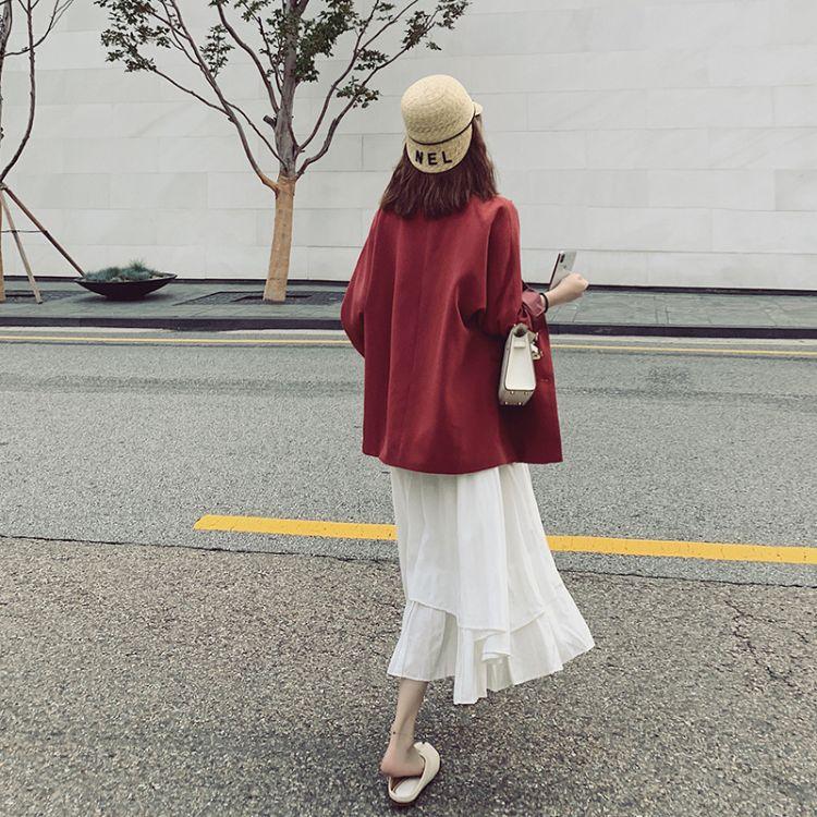 2019秋季新款韩版宽松单排扣复古红色中长款百搭西装外女装尾货批发