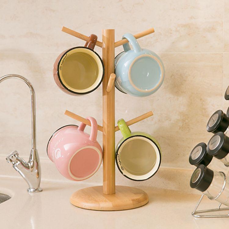新款日韩风格ZAKKA简约树形杯架 竹制水杯收纳架马克杯架厂家直批