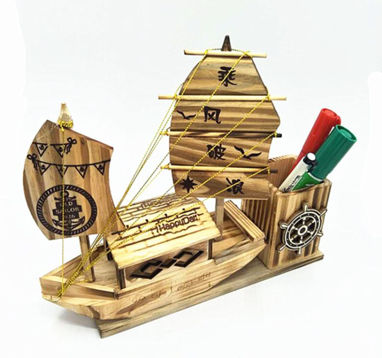 木制帆船地中海乘风破浪笔筒帆船工艺航海模型办公室笔筒摆件批发
