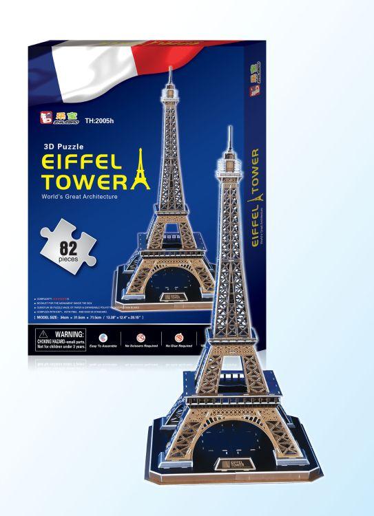 厂家直销批发特大号EPS纸制立体拼图法国地标建筑艾菲尔铁塔