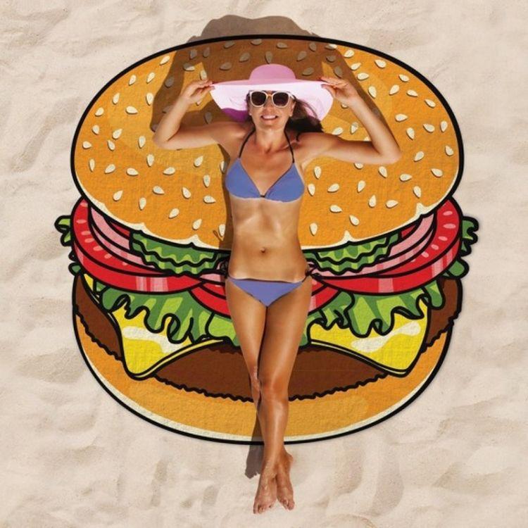 2018速卖通ebay欧美风新款沙滩巾披肩夏wish亚马逊汉堡系列可定做