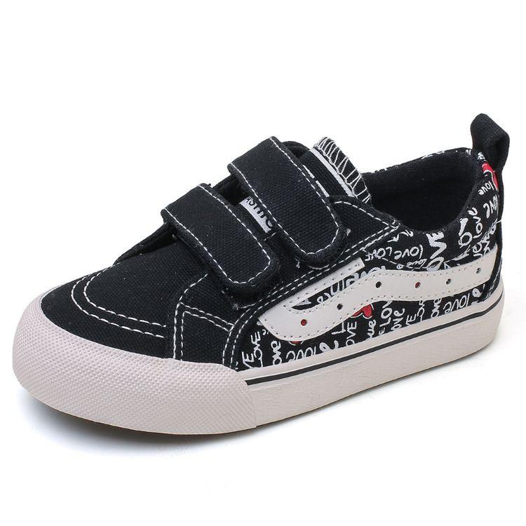 75童鞋男童魔术贴板鞋中大女童运动鞋2018春季新款涂鸦儿童帆布鞋