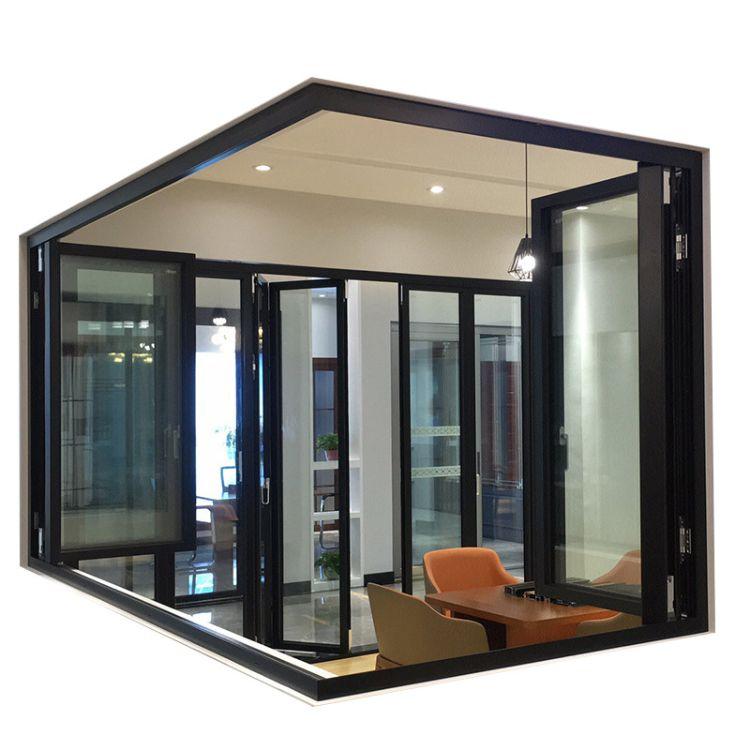 佛山铝合金重型折叠 中空玻璃门窗铝合金边框门窗 厂家定制