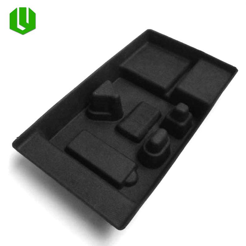 厂家定制 纸浆模塑黑色数码配件环保纸托 湿压纸类包装容器加工