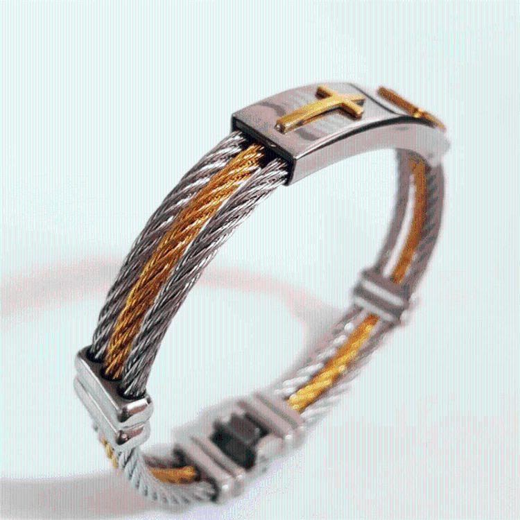 男士手环欧美爆款不锈钢环绕钢丝手镯 十字架真金电镀不锈钢手饰