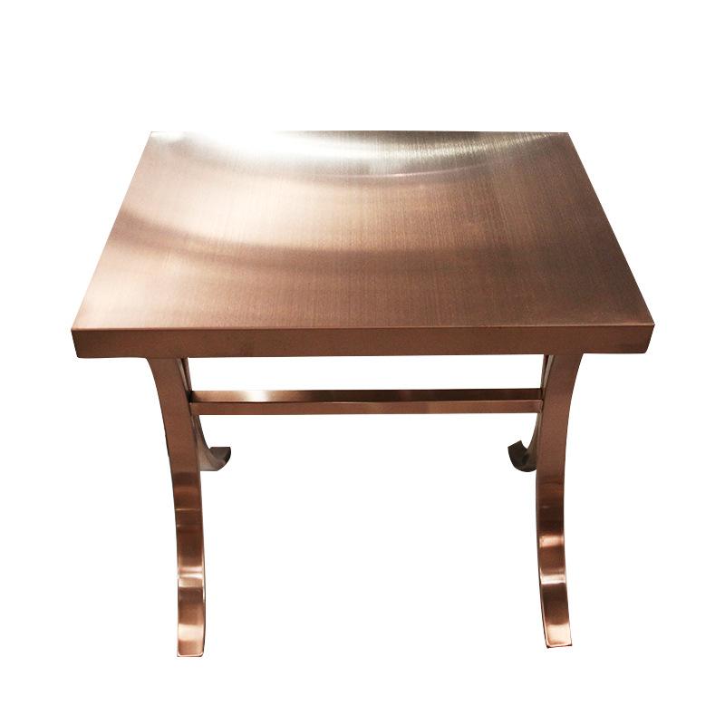 佛山厂家定制不锈钢装饰拉丝玫瑰金凳架 家装不锈钢玫瑰金拉丝桌