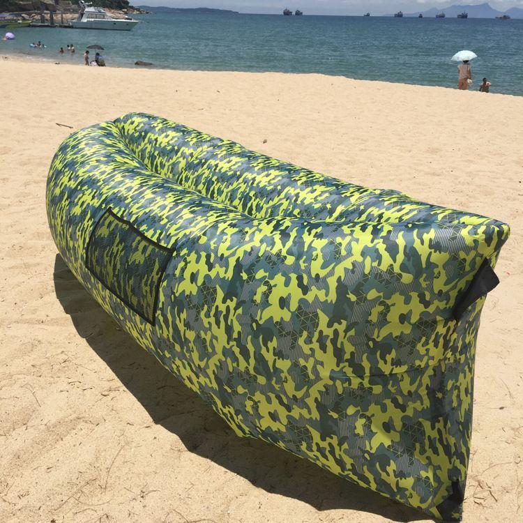 户外充气睡袋充气懒人沙发充气床沙滩懒人床野营印花迷彩空气睡袋