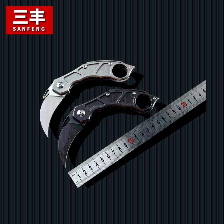 三丰 M390全钛合金爪子弯刀 户外折叠防身刀具 野外求生刀 救援刀具