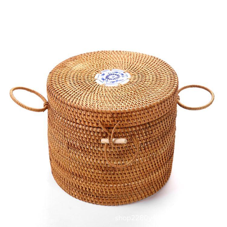 藤编直升桶普洱茶叶罐高档实木茶饼小罐收纳包装盒 木制存茶箱家用
