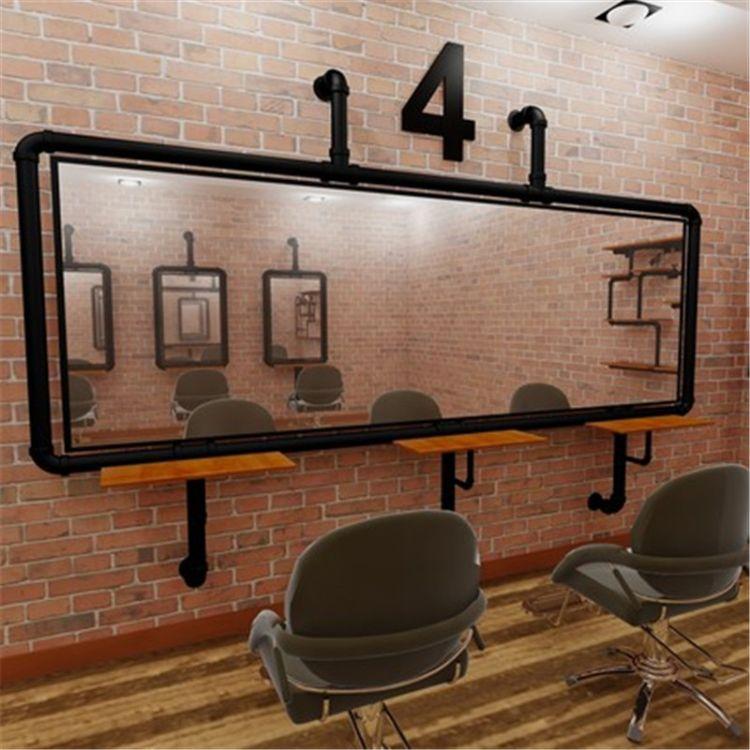 复古loft工业风美发镜台铁艺美发落地单面镜子发廊装修剪发双面镜