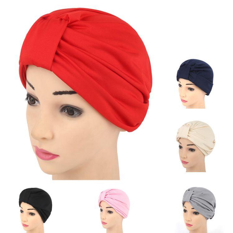 速卖通女士穆斯林两带印度帽 欧美时尚风头巾套头包头帽子 批发