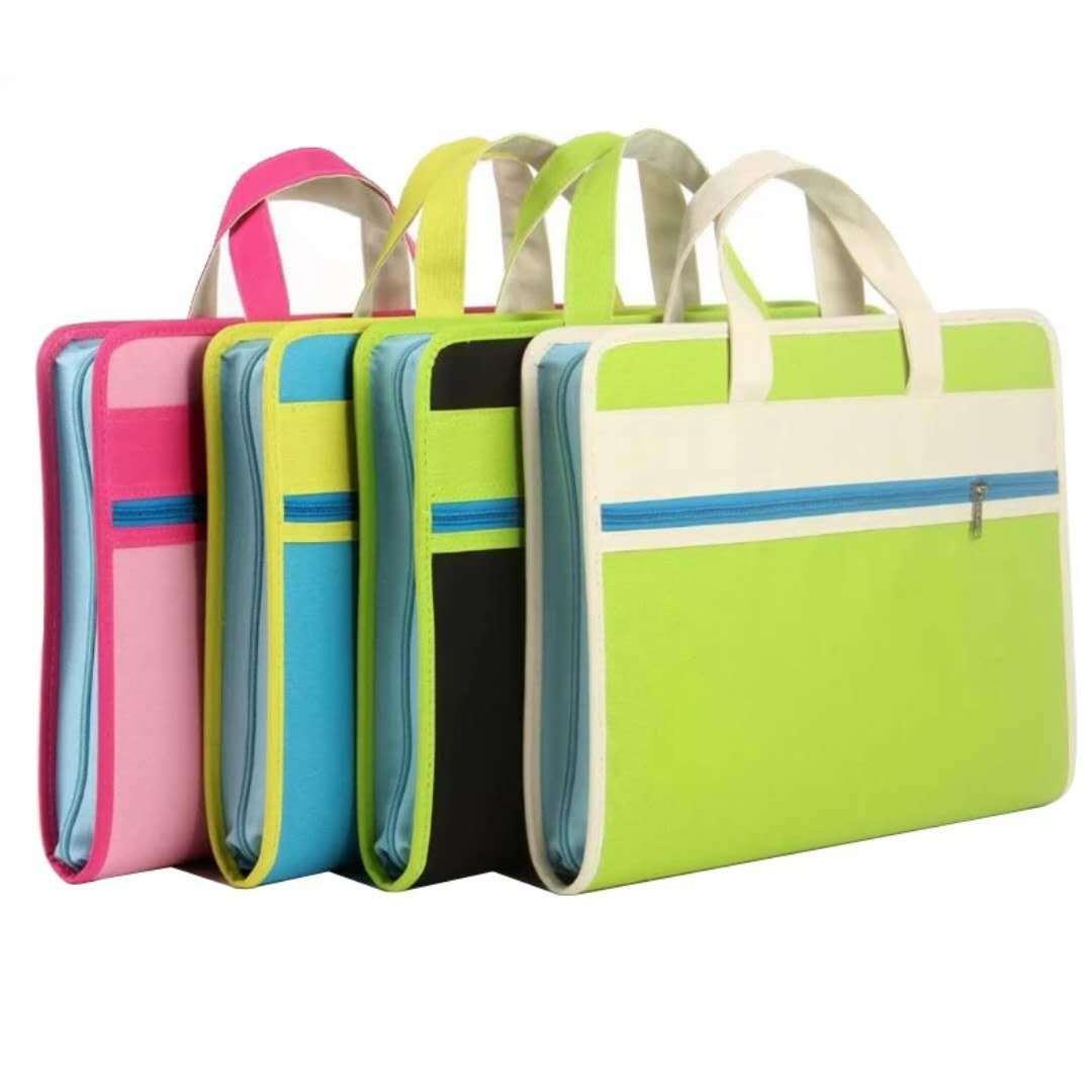 大量现货多用拉链风琴包 携带方便 牛津布面 学生多层文件夹