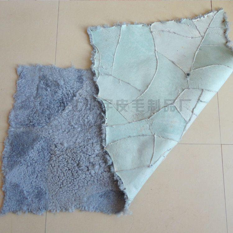 厂家生产灰色羊皮褥子 羊剪绒鞋里鞋料褥子 皮毛一体褥子