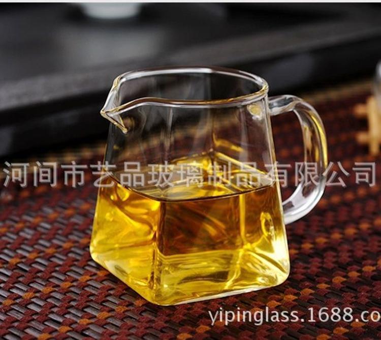 耐热高温玻璃分茶器功夫茶具加厚公道杯隔茶器茶海四方公杯