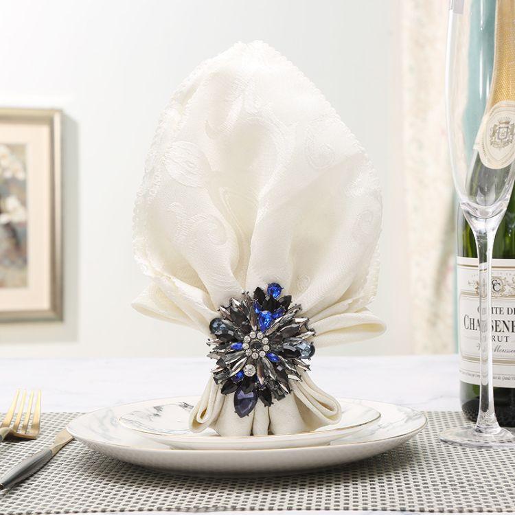 酒店宴会摆台欧式餐巾扣创意锌合金花环餐饮用品餐巾圈礼品货源