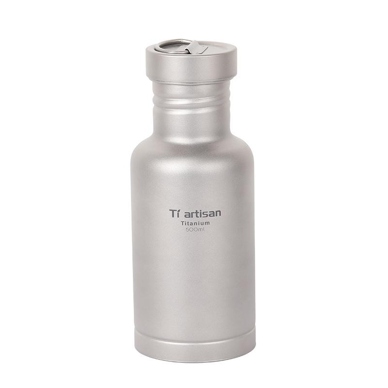 钛工匠纯钛水壶500ml户外骑行水具登山壶轻便携茶杯可烧水Ta8387
