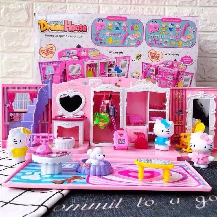 kt凯蒂猫冰雪奇缘公主厨房衣橱过家家手提包玩具套装