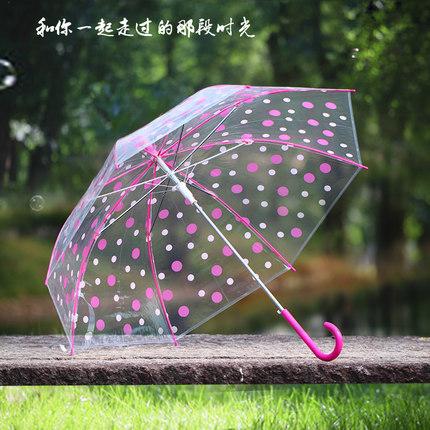 韩版透明彩色圆点雨伞 跳舞画画晴雨伞长柄伞 情侣小清新伞批发
