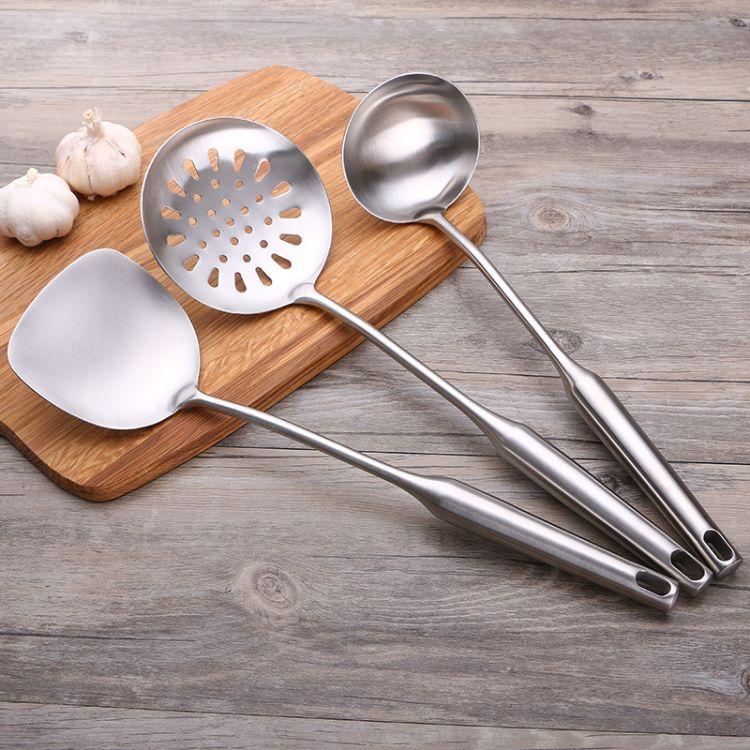 304不锈钢锅铲炒菜铲子 隔热一体无磁烹饪勺铲厨具套装 漏勺漏铲