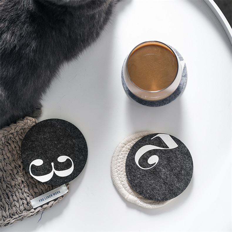 北欧毛毡杯垫ins风家用隔热垫吸水杯垫咖啡杯垫毛毡布杯垫定做