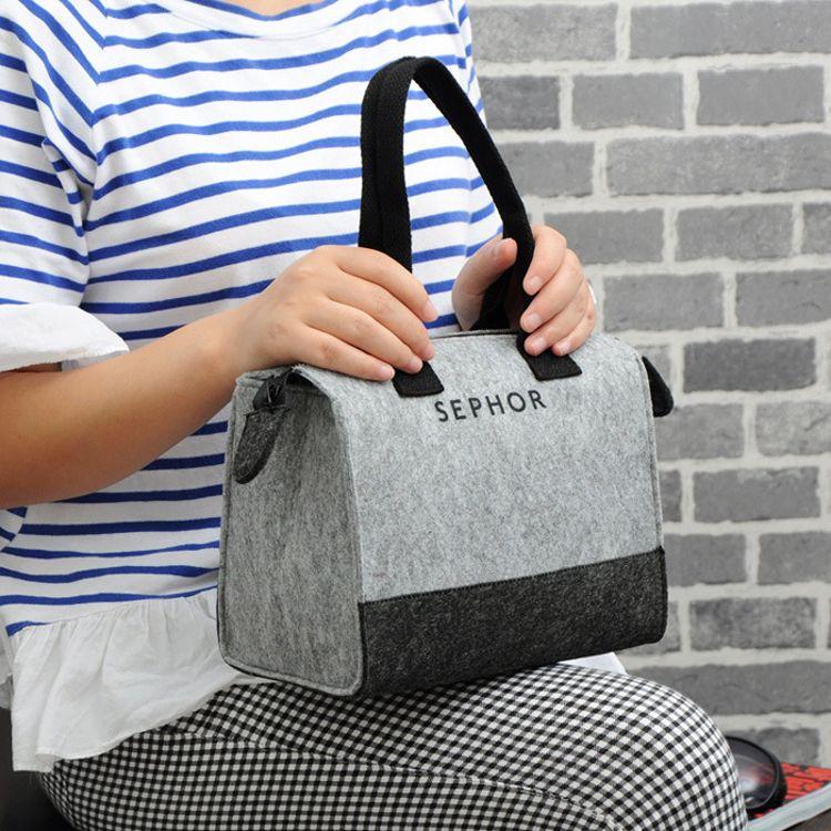日杂附录 森女系手提便当包 毛毡饭盒袋 便当袋 B3312