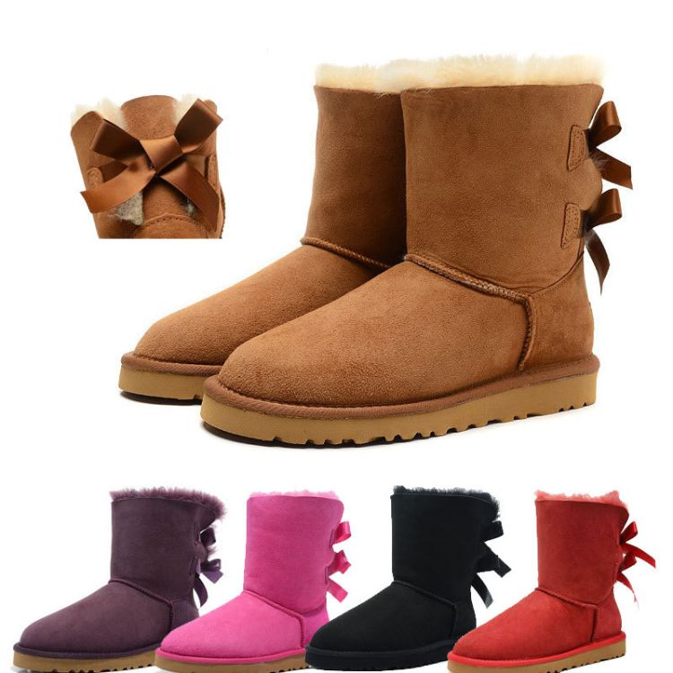 厂家直销3280中筒雪地靴 蝴蝶结女靴 加厚保暖冬靴子 大码男棉鞋