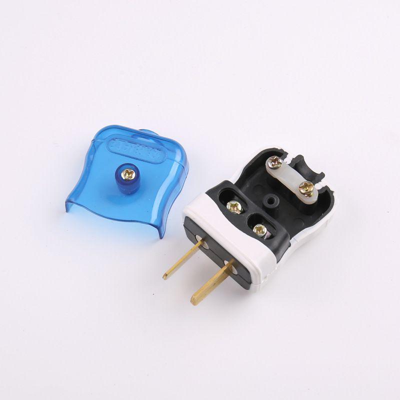 盖香云蓝白转动 固定插头一体成型包胶原铜二极电源 两脚插头