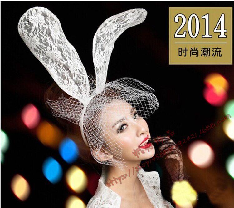 万圣节2018 派对舞会装扮 lady gaga 蕾丝发箍兔耳朵面纱现货批发