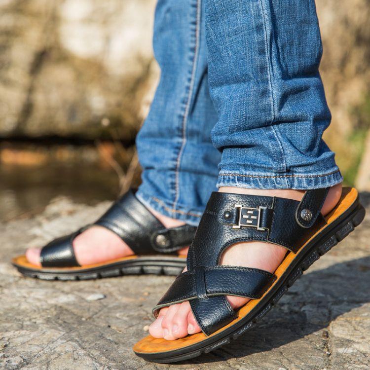 2018新款夏季休闲头层牛皮沙滩鞋子男式男士皮凉鞋男拖鞋潮流韩版