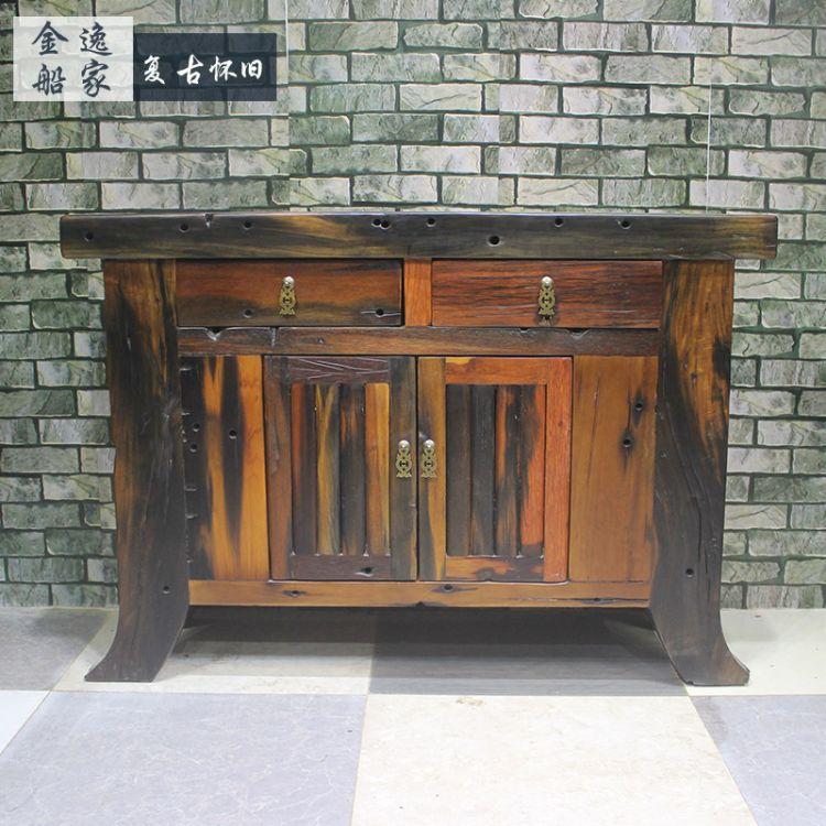 老船木中堂供桌神案台 实木玄关桌大厅佛龛财神桌观音桌条案特价