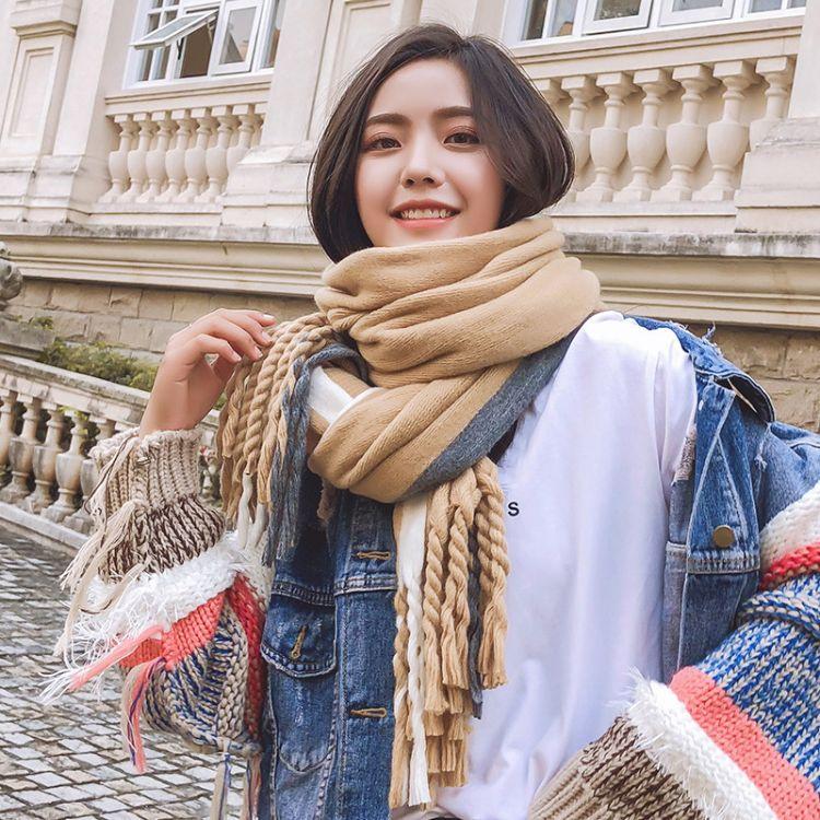 2019韓國新款秋冬季大辮子圍巾女流蘇純色保暖披肩韓版長圍脖批發