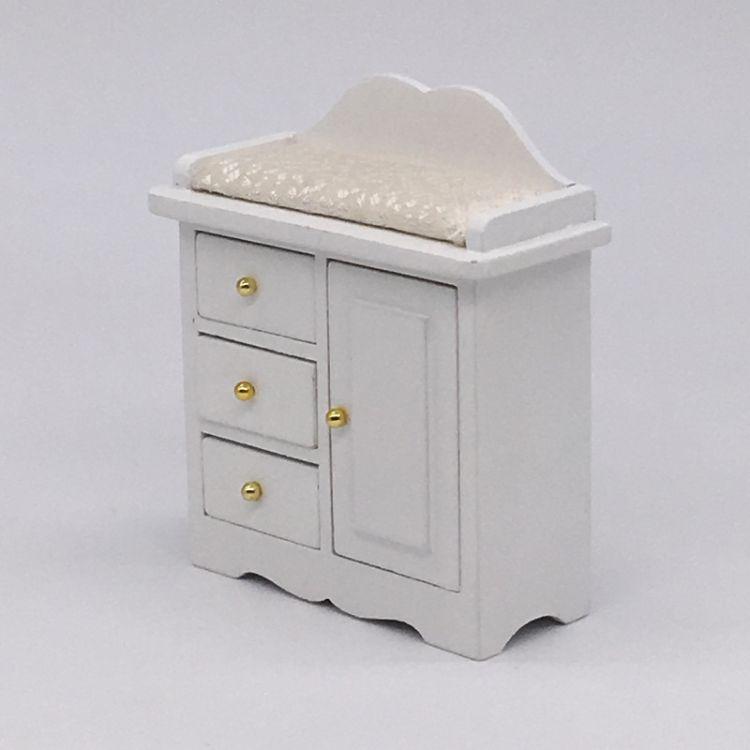 1:12娃娃屋木质迷你家具dollhouse白色袖珍立式小柜子单门三抽屉