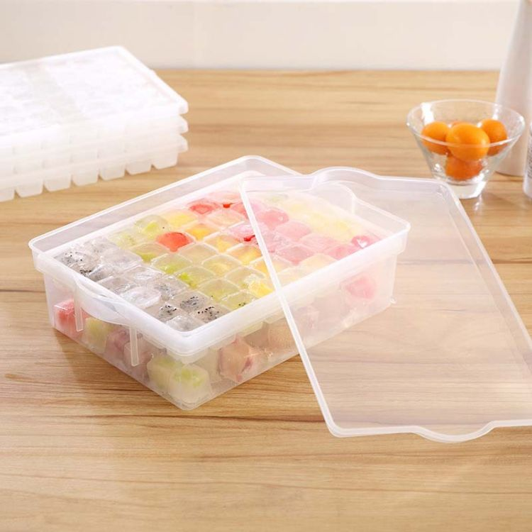 保鲜盒 塑料创意冰格模具方块冰箱冻冰块盒小冰模多格冰块制冰盒