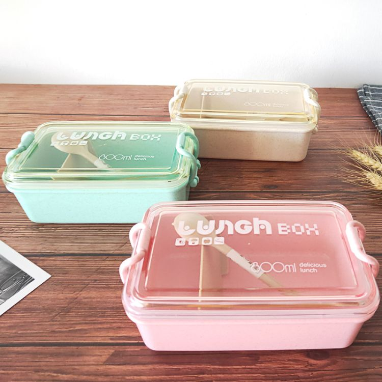 小麦秸秆饭盒韩式单层餐盒配备餐具微波炉创意密封午餐盒定制logo厂家直销