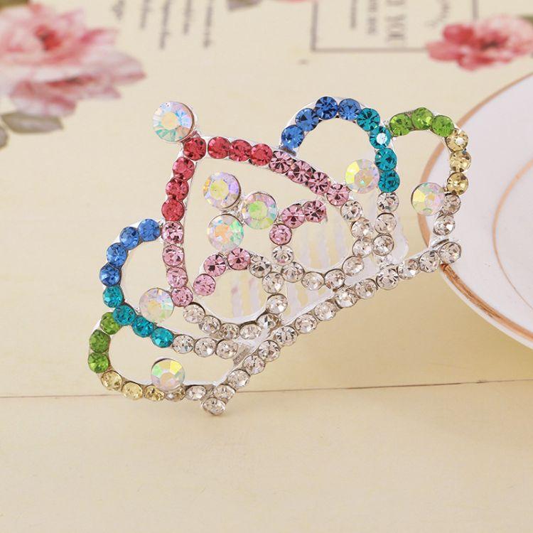 热销韩版儿童皇冠插梳 漂亮女孩水钻王冠发梳生日饰品 厂家直销