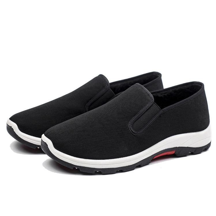 冬季加厚男款 防滑耐磨橡筋底登山鞋休闲鞋 老北京传统工艺懒人鞋