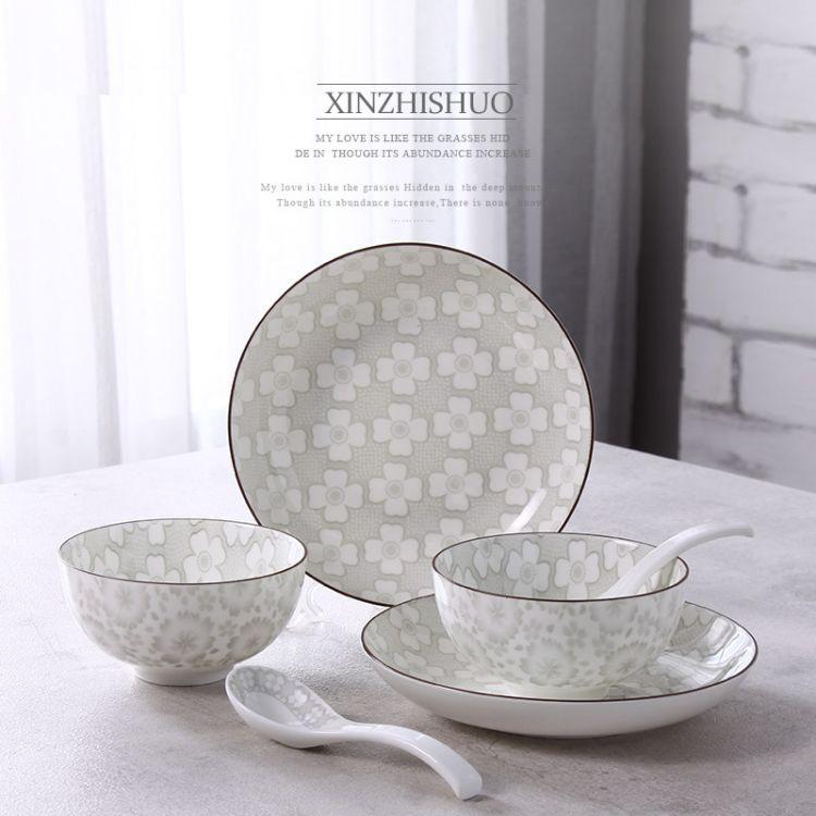 批发陶瓷餐具套装日式瓷器碗盘子碟礼品批发定制 外贸陶瓷 礼品