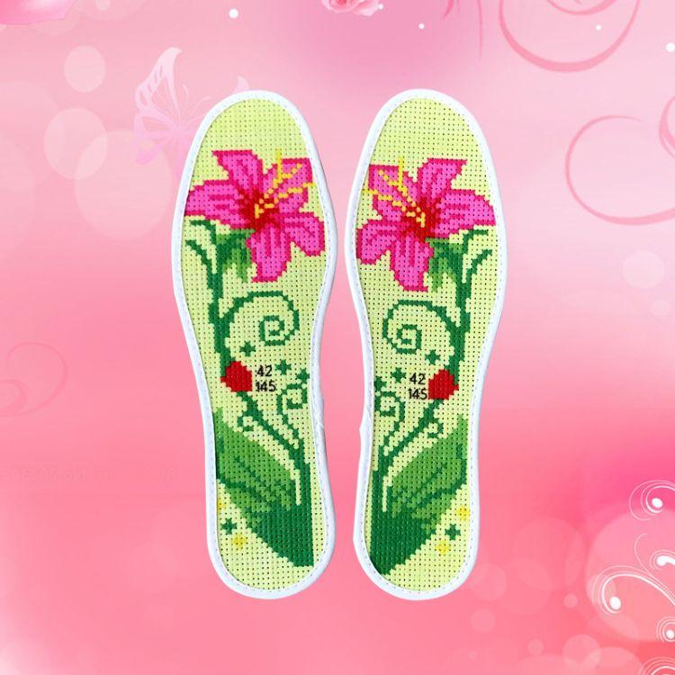 新款印花不掉色男女多层棉布绣花十字绣鞋垫批发免洗满绣刺绣鞋垫