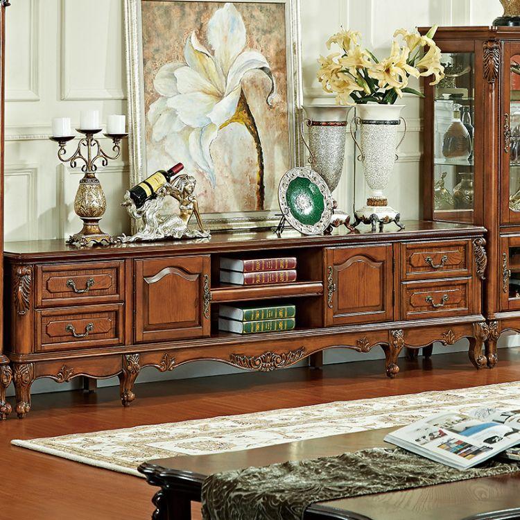 厂家直销 美式乡村电视柜 实木地柜 简美客厅仿古雕花家具