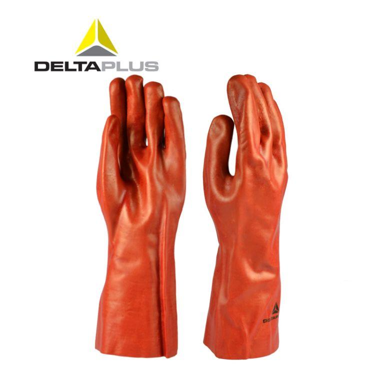 代尔塔 201735 加强硫化 防微生物 加长PVC手套 食品化工劳保手套