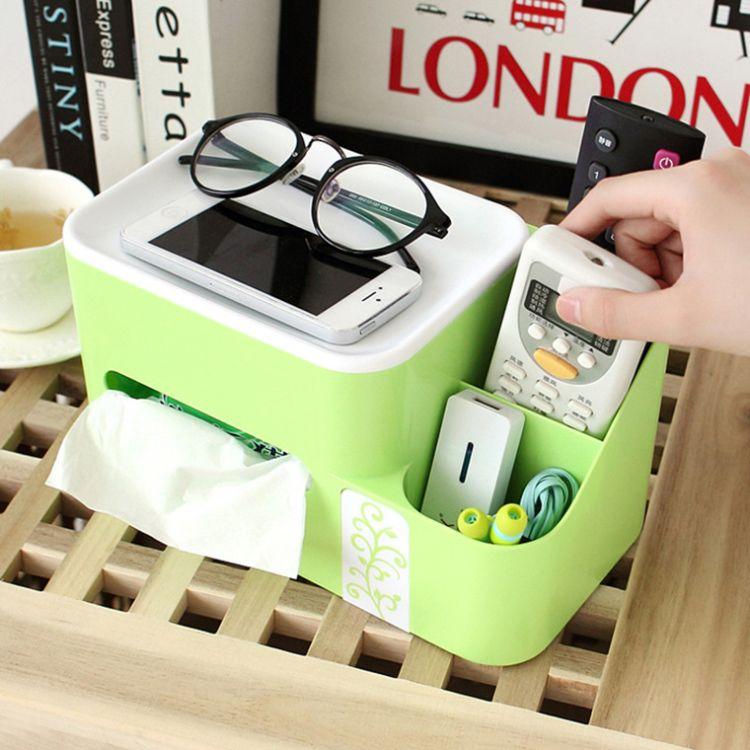 厂家直销多功能塑料纸巾盒办公桌面创意收纳盒家居用品广告礼品定制logo批发