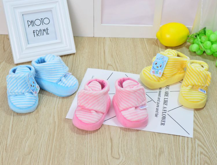 春秋季婴儿棉鞋0-6个月新生儿软底柔鞋 薄棉卡通男女宝宝护脚套冬