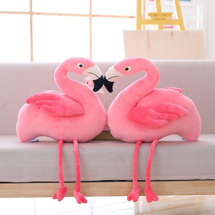 厂家直销粉色少女心火烈鸟公仔毛绒玩具伴睡抱枕送儿童女生礼物