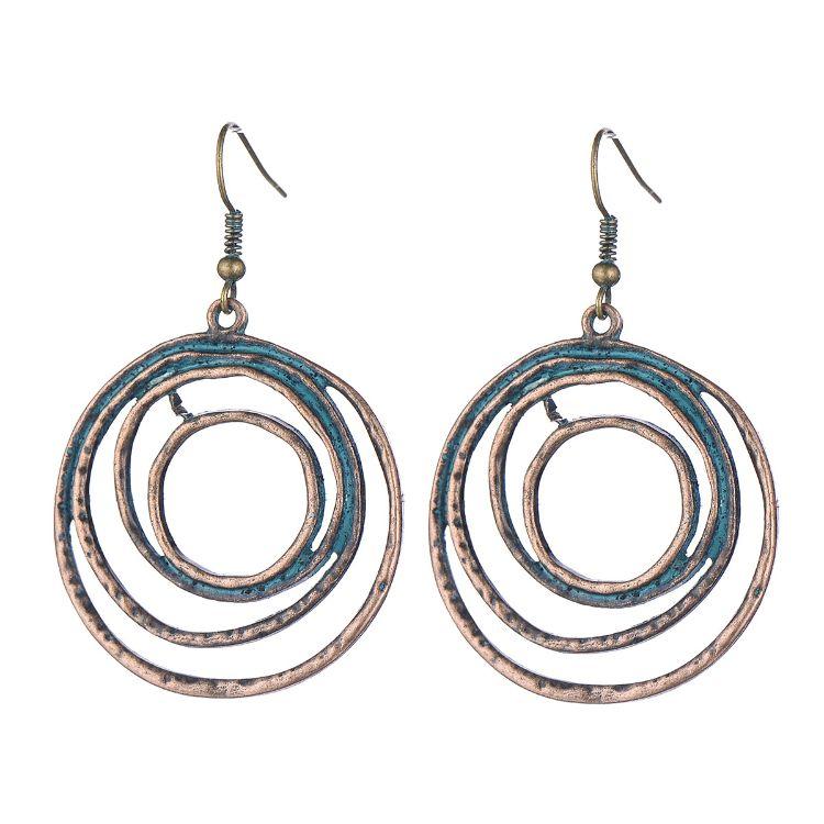 跨境欧美简约双层大小圆圈圆环耳环复古金属耳饰个性夸张女士耳坠