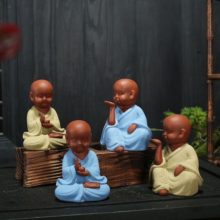 茶宠紫砂彩陶童趣小和尚摆件小沙弥新款禅意书房汽车茶几摆饰批发