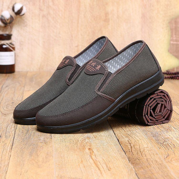 新款老北京休闲鞋中老年爸爸透气防滑商务布鞋聚氨酯不断底开车鞋