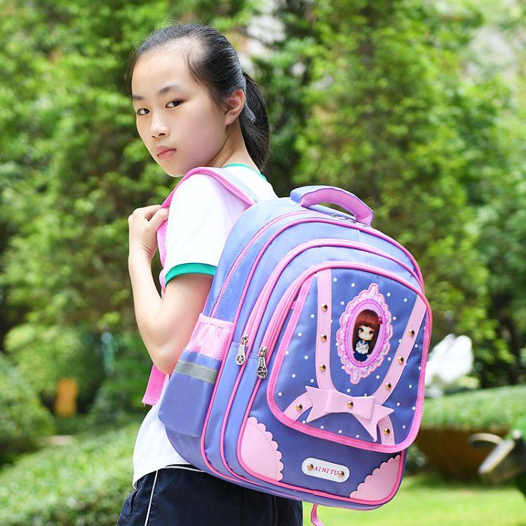 小学生书包女 儿童公主双肩包 1-3-6年级减负防水背包女孩批发