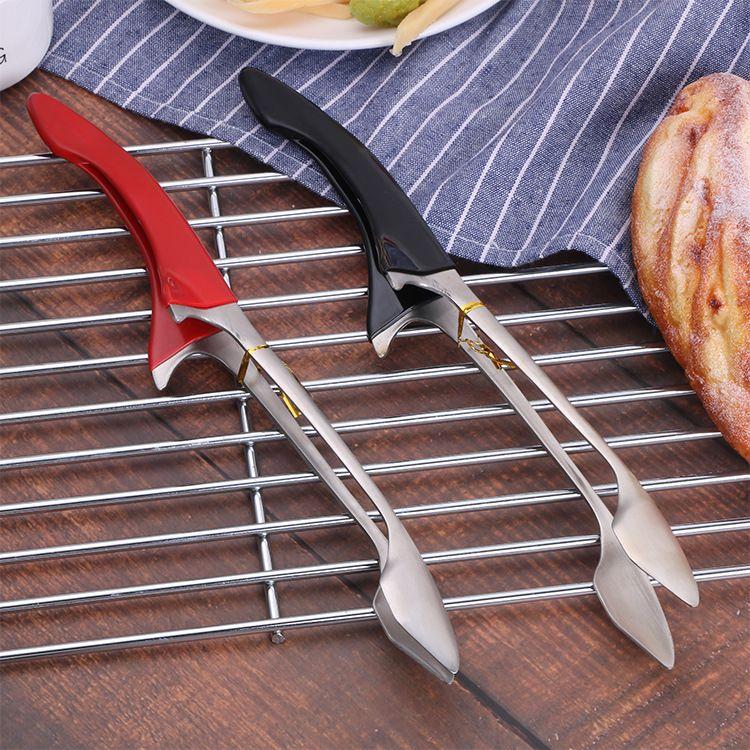304不锈钢食物夹子  厨房工具餐夹 防滑防脏胶柄食品夹