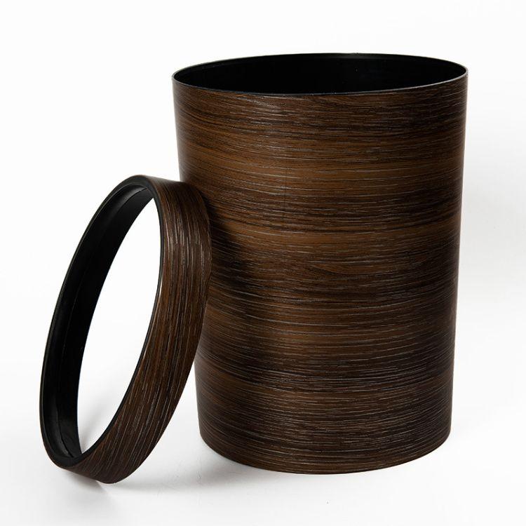 新款复古木纹垃圾桶家用办公室客厅卫生间纸篓无盖带压圈大号10L